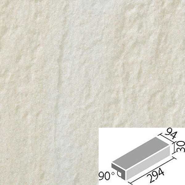 やわらかなライムストーンの質感を持ち、床タイル定番形状を揃えたパターン張りも可能なお値打ち感のある床タイルです。 LIXIL INAX タイル アレス 300×100mm角垂れ付き段鼻 ALS-301/1