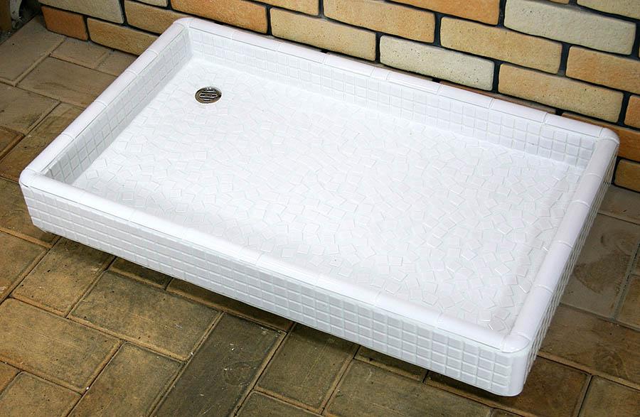 ガーデンシンク タイル 流し台 昭和レトロ 大型ガーデンパン タイル洗面台 Lサイズ 0217 ホワイト ペットのシャンプに最適です 手作り 懐かしくてレトロ お洒落 エクステリア