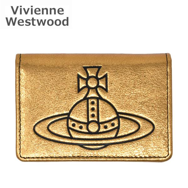 AW2019-20 ヴィヴィアンウエストウッド カードケース 51110020-41024-R401 ゴールド Anna Small Credit Card 【送料無料(※北海道・沖縄は1,000円)】