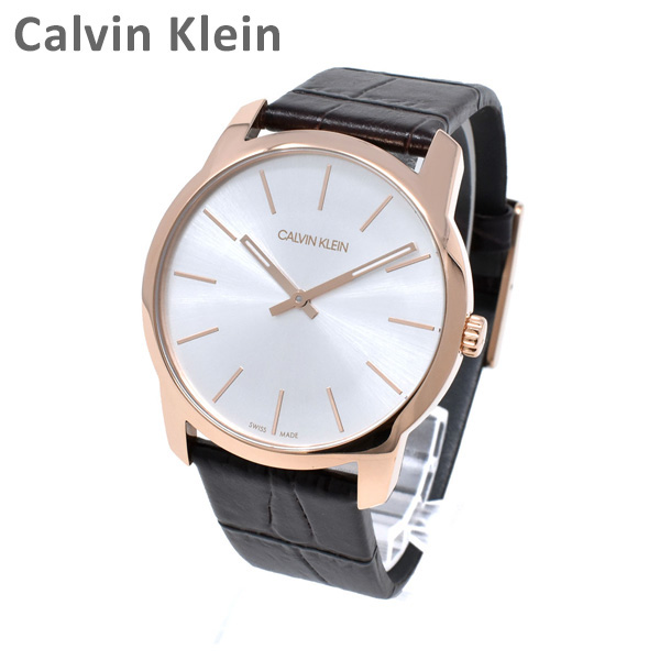 Calvin Klein CK カルバンクライン 時計 腕時計 K2G226G6 CITY シティ ピンクゴールド/ダークブラウン レザー メンズ レディース ウォッチ クォーツ 【送料無料(※北海道・沖縄は1,000円)】