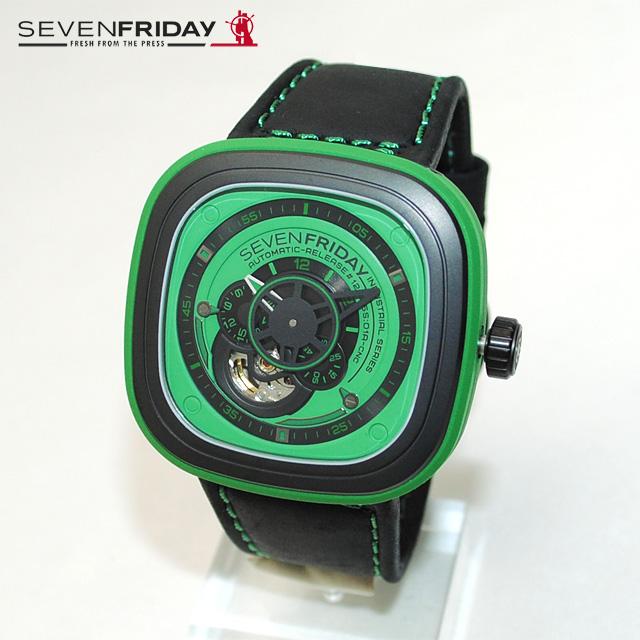 SEVEN FRIDAY (セブンフライデー) 時計 腕時計 SFP1/05 グリーン/ブラック レザー 自動巻き Industrial Essence 【送料無料(※北海道・沖縄は1,000円)】