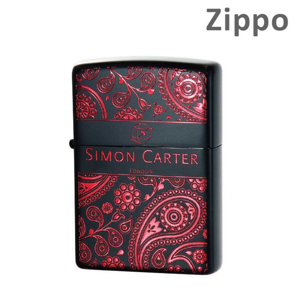 《》Zippo(ジッポー) ライター SIMON CARTER(サイモンカーター) ペイズリーBOX-IR フラワー SCP-016 イオンレッド 【送料無料(※北海道・沖縄は注文不可)】【楽ギフ_包装選択】