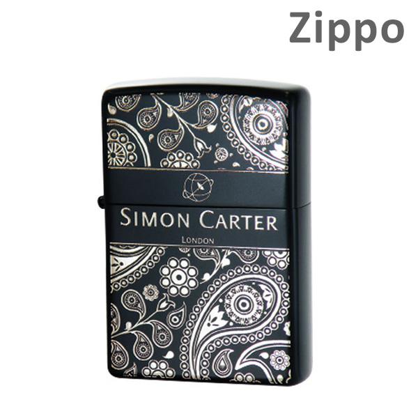 Zippo(ジッポー) ライター SIMON CARTER(サイモンカーター) ペイズリーBOX-IB フラワー SCP-017 イオンブラック マット 【送料無料(※北海道・沖縄は注文不可)】