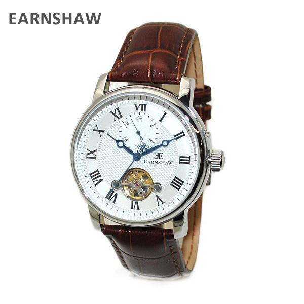 【国内正規品】 EARNSHAW (アーンショウ) 時計 腕時計 ES-8042-02 レザー ブラウン/シルバー 自動巻き メンズ ウォッチ 【送料無料(※北海道・沖縄は1,000円)】
