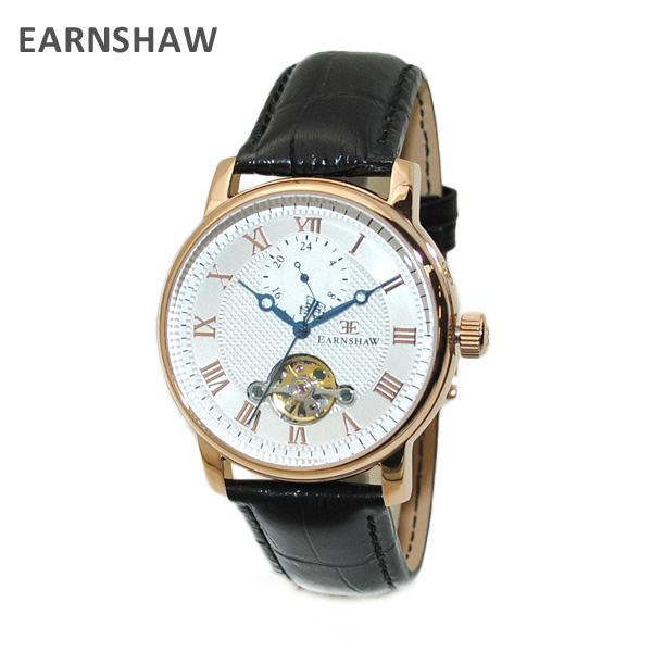 【国内正規品】 EARNSHAW (アーンショウ) 時計 腕時計 ES-8042-03 レザー ブラック/ピンクゴールド 自動巻き メンズ ウォッチ 【送料無料(※北海道・沖縄は1,000円)】