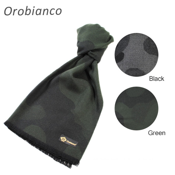 Orobianco (オロビアンコ) マフラー OB-1507 カモフラージュ CAMOUFLAGE ブラック グレー グリーン 黒 緑 迷彩 カモ メンズ レディース 【送料無料(※北海道・沖縄は1,000円)】