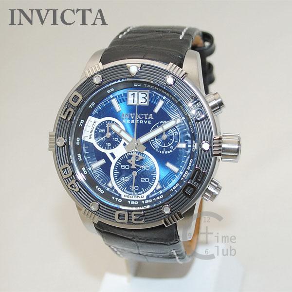 インビクタ 腕時計 INVICTA 時計 17374 Reserve リザーブ ブラック レザー/シルバー/ブルー メンズ インヴィクタ 【送料無料(※北海道・沖縄は1,000円)】