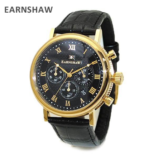 【国内正規品】 EARNSHAW (アーンショウ) 時計 腕時計 ES-8051-05 レザー ブラック/ゴールド/ブラック メンズ ウォッチ クォーツ 【送料無料(※北海道・沖縄は1,000円)】