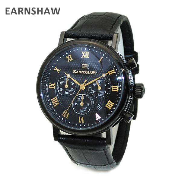 【国内正規品】 EARNSHAW (アーンショウ) 時計 腕時計 ES-8051-06 レザー ブラック/ブラック/ブラック メンズ ウォッチ クォーツ 【送料無料(※北海道・沖縄は1,000円)】