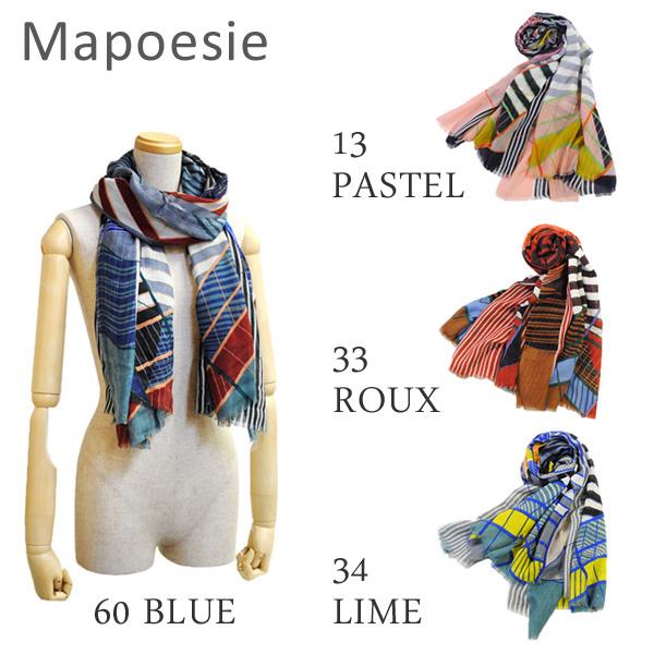 Mapoesie マポエジー ストール O-ARCHIMEDE 13 PASTEL 33 ROUX 34 LIME 60 BLUE レディース スカーフ/マフラー【送料無料(※北海道・沖縄は1,000円)】