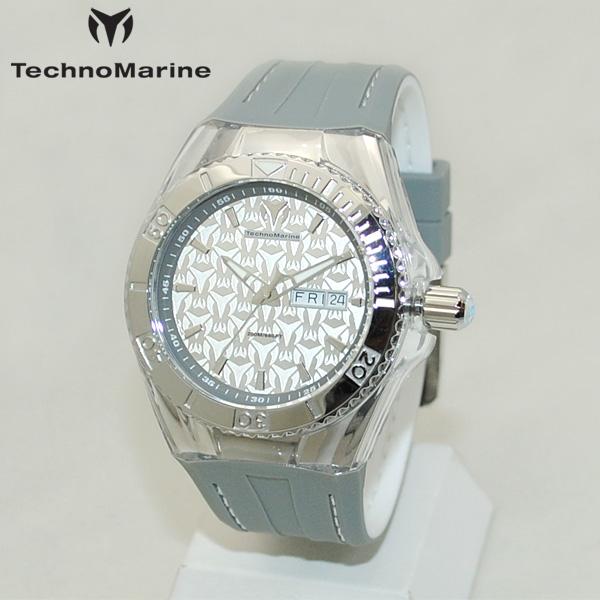 TechnoMarine テクノマリーン 腕時計 TM115153 CRUISE MONOGRAM シルバー/グレー/ホワイト ラバー ウォッチ テクノマリン 時計 【送料無料(※北海道・沖縄は1,000円)】
