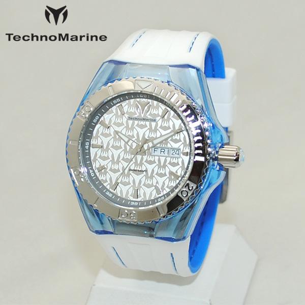 TechnoMarine テクノマリーン 腕時計 TM115154 CRUISE MONOGRAM シルバー/ホワイト/ブルー ラバー ウォッチ テクノマリン 時計 【送料無料(※北海道・沖縄は1,000円)】