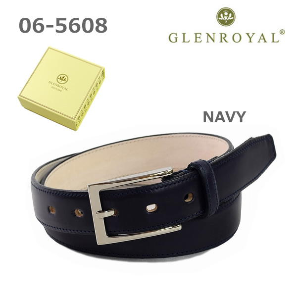 グレンロイヤル ベルト 06-5480 メンズ レザー ネイビー GLENROYAL ボックス付き 海外正規品 【送料無料(※北海道・沖縄は1,000円)】
