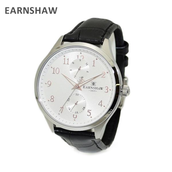 【国内正規品】 EARNSHAW (アーンショウ) 時計 腕時計 ES-8079-01 レザー ブラック/シルバー メンズ ウォッチ クォーツ 【送料無料(※北海道・沖縄は1,000円)】