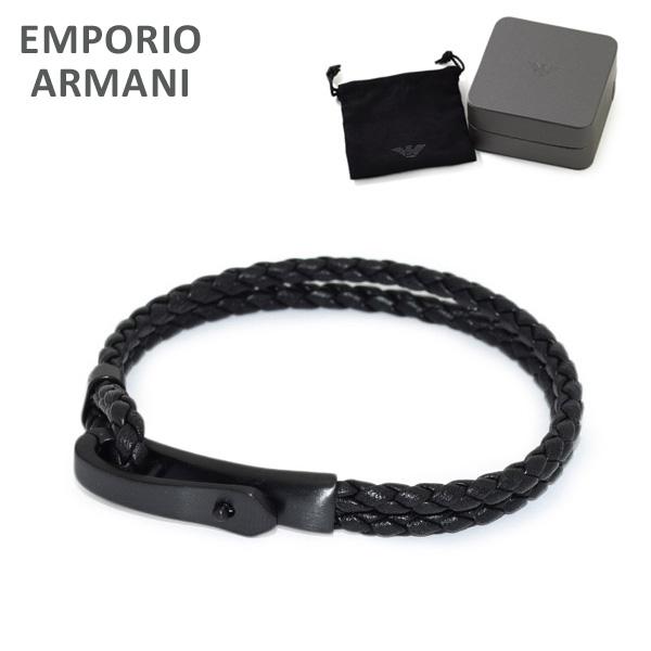 エンポリオ アルマーニ ブレスレット EGS2477001 ブラック レザー EMPORIO ARMANI アクセサリー メンズ 【送料無料(※北海道・沖縄は1,000円)】