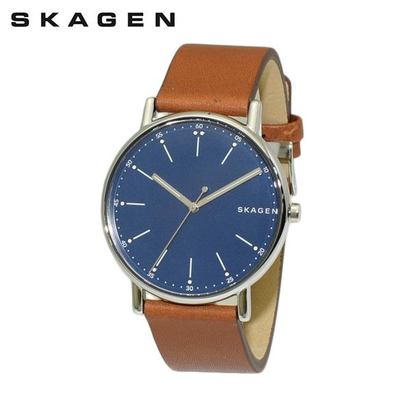 スカーゲン 腕時計 SKW6355 SKAGEN 時計 メンズ ウォッチ ブラウン レザー/シルバー/ブルー 【送料無料(※北海道・沖縄は1,000円)】