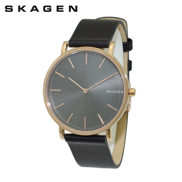 スカーゲン 腕時計 SKW6447 SKAGEN 時計 メンズ ウォッチ ブラック レザー/ピンクゴールド 【送料無料(※北海道・沖縄は1,000円)】