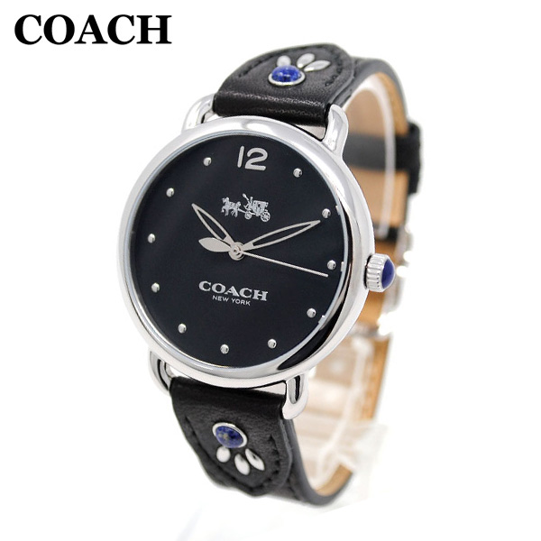 コーチ 腕時計 レディース 14502738 COACH DELANCEY デランシー シルバー/ブラック レザー 時計 ウォッチ 【送料無料(※北海道・沖縄は1,000円)】
