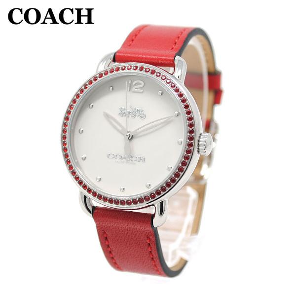 コーチ 腕時計 レディース 14502878 COACH DELANCEY デランシー シルバー/レッド レザー 時計 ウォッチ 【送料無料(※北海道・沖縄は1,000円)】