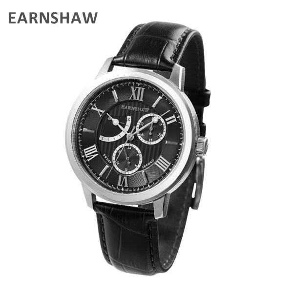 EARNSHAW アーンショウ 時計 腕時計 ES-8060-01 レザー ブラック/シルバー メンズ ウォッチ クォーツ 【送料無料(※北海道・沖縄は1,000円)】