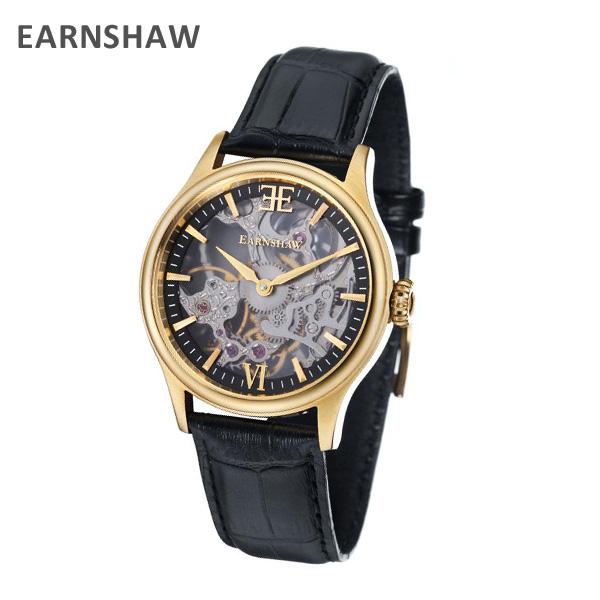 EARNSHAW アーンショウ 時計 腕時計 ES-8061-03 レザー ブラック/ゴールド メンズ ウォッチ 手巻き 【送料無料(※北海道・沖縄は1,000円)】