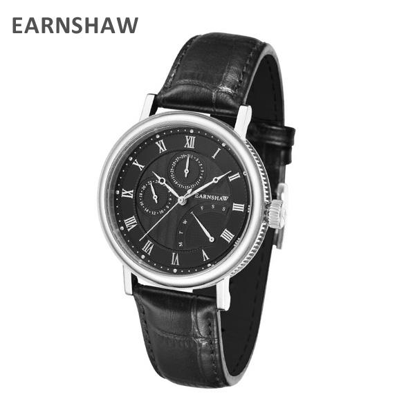 EARNSHAW アーンショウ 時計 腕時計 ES-8101-01 レザー ブラック/シルバー メンズ ウォッチ クォーツ 【送料無料(※北海道・沖縄は1,000円)】
