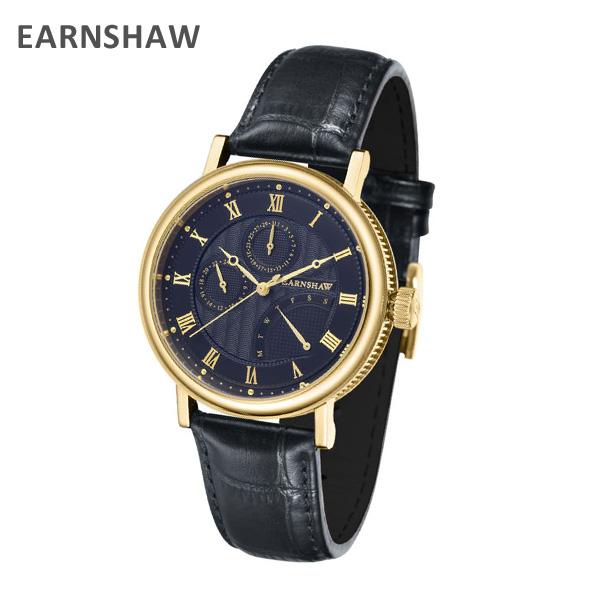 EARNSHAW アーンショウ 時計 腕時計 ES-8101-04 レザー ブラック/ゴールド/ネイビー メンズ ウォッチ クォーツ 【送料無料(※北海道・沖縄は1,000円)】