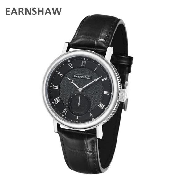 EARNSHAW アーンショウ 時計 腕時計 ES-8102-01 レザー ブラック/シルバー メンズ ウォッチ クォーツ 【送料無料(※北海道・沖縄は1,000円)】