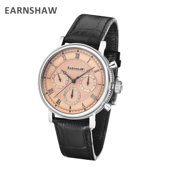 EARNSHAW アーンショウ 時計 腕時計 ES-8103-03 レザー ブラック/シルバー メンズ ウォッチ クォーツ 【送料無料(※北海道・沖縄は1,000円)】