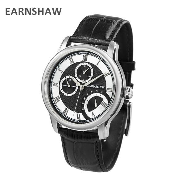 EARNSHAW アーンショウ 時計 腕時計 ES-8104-01 レザー ブラック/シルバー メンズ ウォッチ クォーツ 【送料無料(※北海道・沖縄は1,000円)】