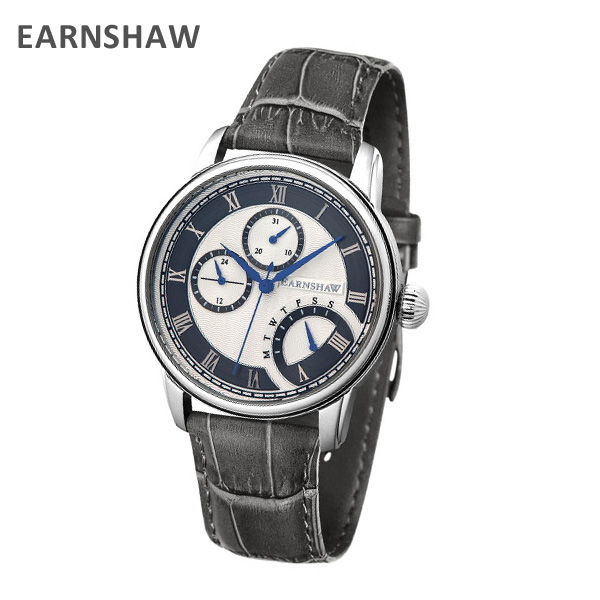 EARNSHAW アーンショウ 時計 腕時計 ES-8104-03 レザー グレー/シルバー/ネイビー メンズ ウォッチ クォーツ 【送料無料(※北海道・沖縄は1,000円)】