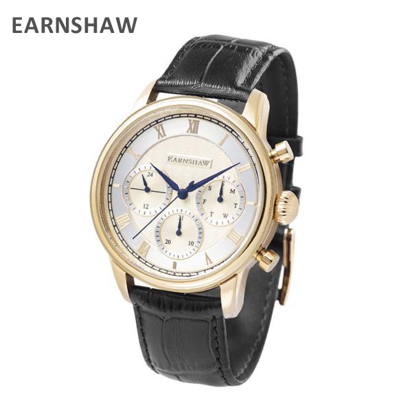 EARNSHAW アーンショウ 時計 腕時計 ES-8105-03 レザー ブラック/ゴールド メンズ ウォッチ クォーツ 【送料無料(※北海道・沖縄は1,000円)】