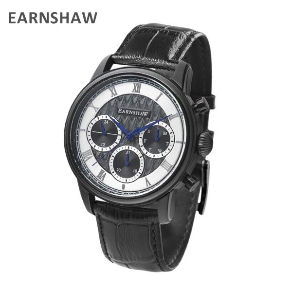 EARNSHAW アーンショウ 時計 腕時計 ES-8105-05 レザー ブラック/ブラック メンズ ウォッチ クォーツ 【送料無料(※北海道・沖縄は1,000円)】