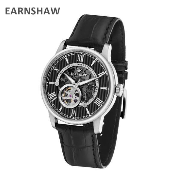 Thomas Earnshaw トーマス 送料無料 新品 中古 アーンショウ 腕時計 海外正規品 EARNSHAW 時計 ES-8802-01 レザー ※北海道 沖縄は1 自動巻き シルバー 000円 ウォッチ メンズ ブラック