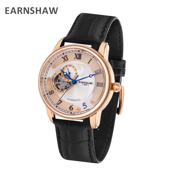 EARNSHAW アーンショウ 時計 腕時計 ES-8803-03 レザー ブラック/ピンクゴールド メンズ ウォッチ 自動巻き【送料無料(※北海道・沖縄は1,000円)】
