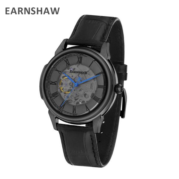 EARNSHAW アーンショウ 時計 腕時計 ES-8805-02 レザー ブラック/ブラック メンズ ウォッチ 自動巻き【送料無料(※北海道・沖縄は1,000円)】