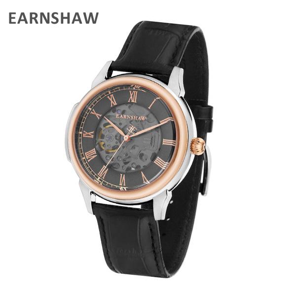 EARNSHAW アーンショウ 時計 腕時計 ES-8805-04 レザー ブラック/ピンクゴールド/ガンメタル メンズ ウォッチ 自動巻き【送料無料(※北海道・沖縄は1,000円)】