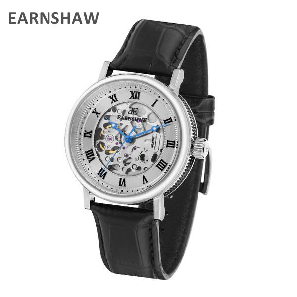 EARNSHAW アーンショウ 時計 腕時計 ES-8806-01 レザー ブラック/シルバー メンズ ウォッチ 自動巻き【送料無料(※北海道・沖縄は1,000円)】