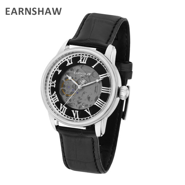 EARNSHAW アーンショウ 時計 腕時計 ES-8808-01 レザー ブラック/シルバー メンズ ウォッチ 自動巻き【送料無料(※北海道・沖縄は1,000円)】