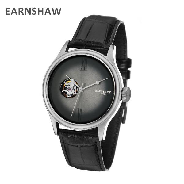 EARNSHAW アーンショウ 時計 腕時計 ES-8809-01 レザー ブラック/ガンメタル メンズ ウォッチ 自動巻き【送料無料(※北海道・沖縄は1,000円)】