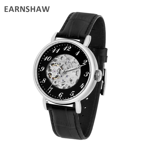 EARNSHAW アーンショウ 時計 腕時計 ES-8810-01 レザー ブラック/シルバー メンズ ウォッチ 自動巻き【送料無料(※北海道・沖縄は1,000円)】