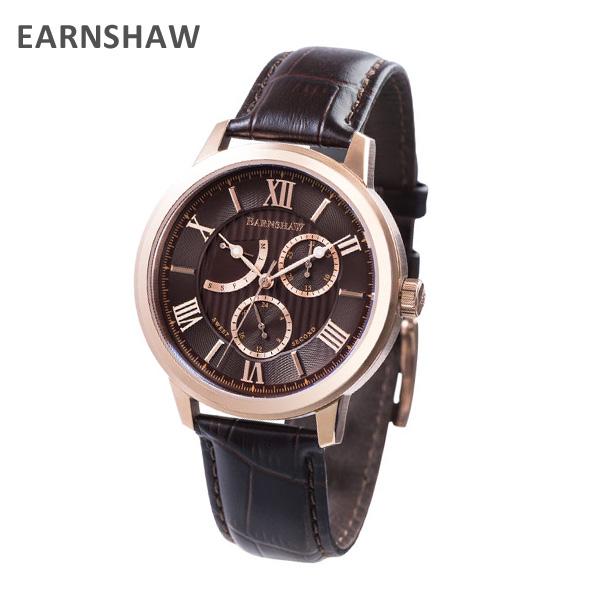 EARNSHAW アーンショウ 時計 腕時計 ES-8060-04 レザー ブラウン/ピンクゴールド メンズ ウォッチ クォーツ 【送料無料(※北海道・沖縄は1,000円)】