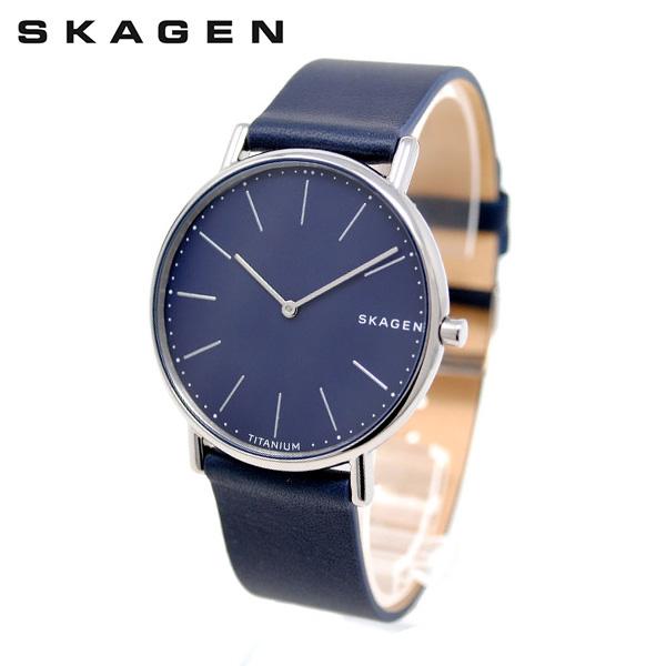 スカーゲン 腕時計 SKW6481 SKAGEN SIGNATUR 時計 メンズ ウォッチ ブルー/シルバー/ネイビー レザー 【送料無料(※北海道・沖縄は1,000円)】