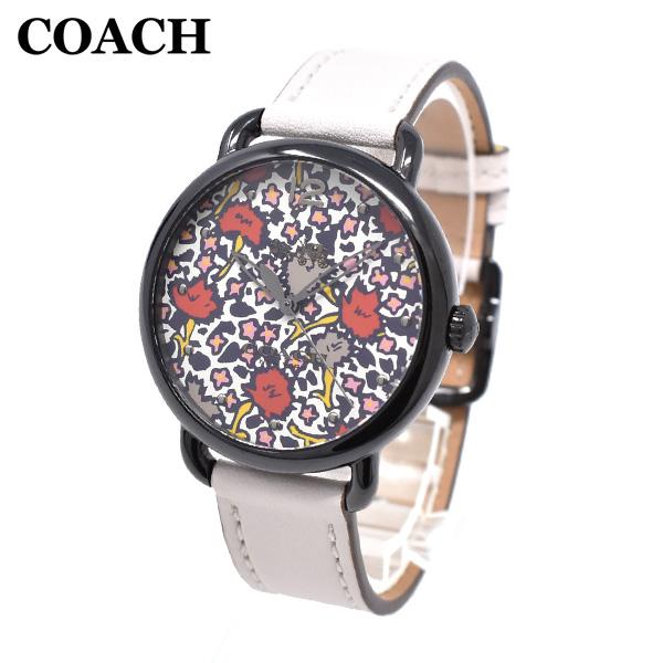 コーチ 腕時計 レディース 14502729 COACH DELANCEY デランシー ブラック/オフホワイト レザー 時計 ウォッチ 【送料無料(※北海道・沖縄は1,000円)】