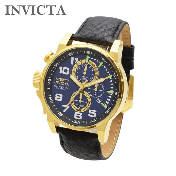 インビクタ 腕時計 INVICTA 時計 13055 I-Force フォース ゴールド/ブルー/ブラック レザー メンズ インヴィクタ 【送料無料(※北海道・沖縄は1,000円)】