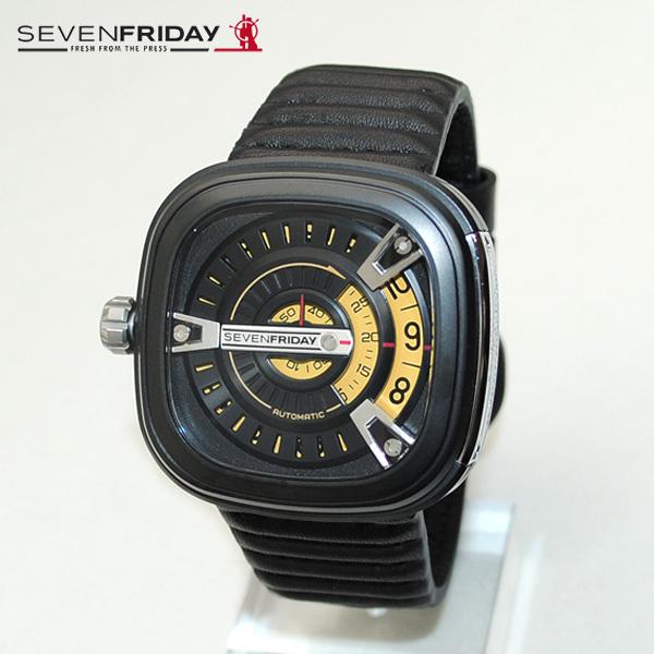 SEVEN FRIDAY (セブンフライデー) 時計 腕時計 SFM2/01 ブラック/イエロー レザー 自動巻き M-SERIES 【送料無料(※北海道・沖縄は1,000円)】