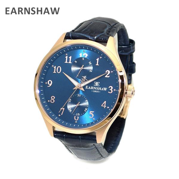 【国内正規品】 EARNSHAW (アーンショウ) 時計 腕時計 ES-8079-02 レザー ネイビー/ピンクゴールド メンズ ウォッチ クォーツ 【送料無料(※北海道・沖縄は1,000円)】