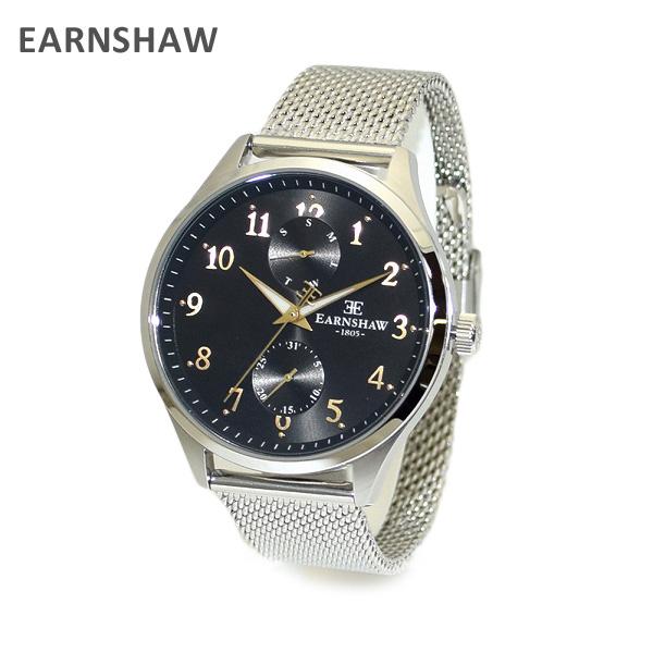 【国内正規品】 EARNSHAW (アーンショウ) 時計 腕時計 ES-8079-11 ブレス シルバー/ブラック メンズ ウォッチ クォーツ 【送料無料(※北海道・沖縄は1,000円)】