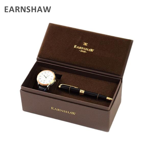 【国内正規品】 EARNSHAW (アーンショウ) 時計 腕時計 ES-8035-02 レザー ブラック/ピンクゴールド/ホワイト メンズ ウォッチ 自動巻き ボールペンセット 【送料無料(※北海道・沖縄は1,000円)】