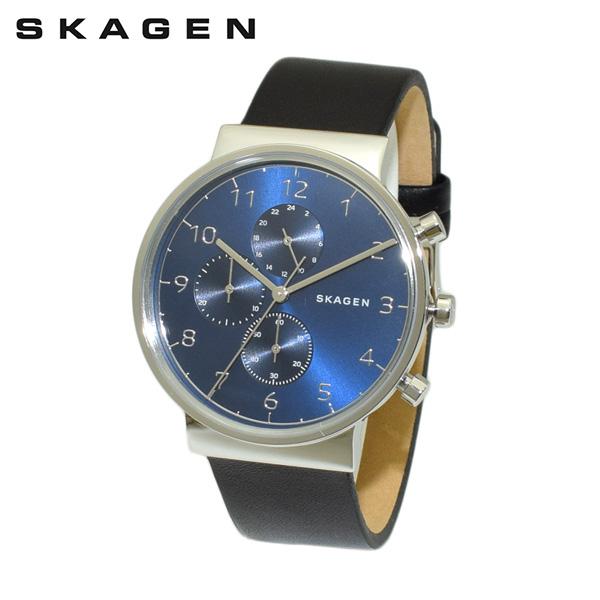 スカーゲン 腕時計 SKW6417 SKAGEN 時計 メンズ ウォッチ ブラック レザー/シルバー/ブルー クロノグラフ 【送料無料(※北海道・沖縄は1,000円)】